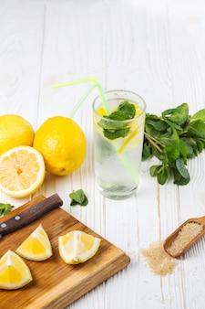 Ingrédients pour eau rafraîchissante à la menthe citronnée