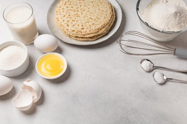 Ingrédients pour faire des crêpes pour le mardi gras