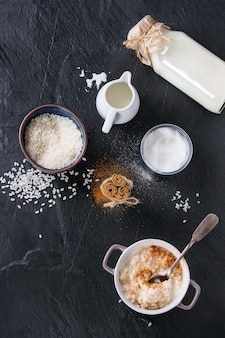 Ingrédients pour faire du riz au lait