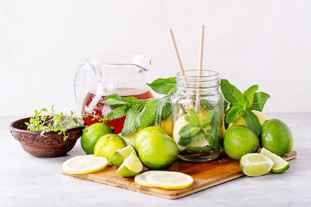 Ingrédients pour faire du thé glacé