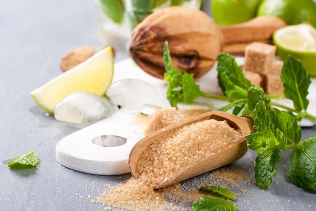Ingrédients pour faire des mojitos