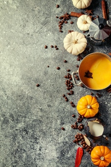 Ingrédients pour latte au potiron