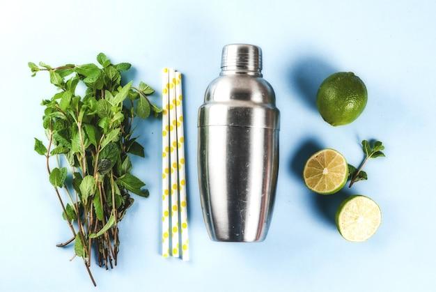 Ingrédients pour mojito cocktail sur fond bleu clair