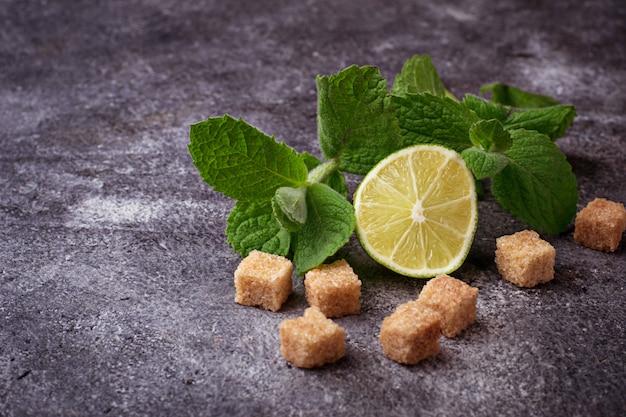 Ingrédients pour mojito. mise au point sélective