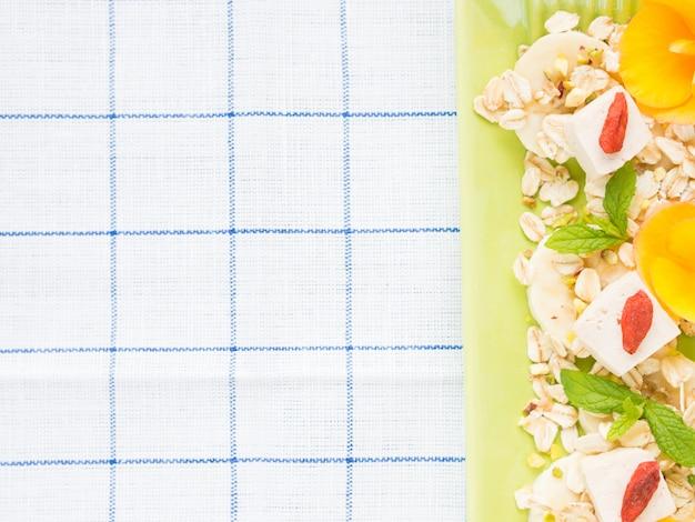 Ingrédients pour le petit déjeuner végétalien