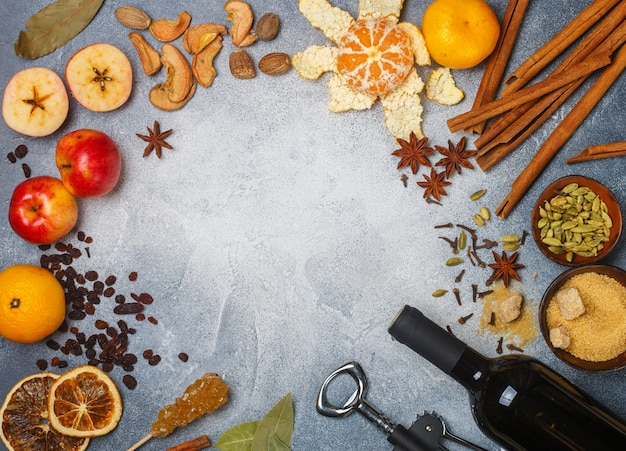 Ingrédients pour la préparation du vin chaud