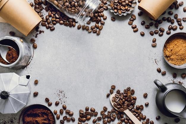 Ingrédients pour préparer le café à plat