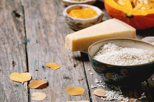 Ingrédients pour risotto à la citrouille