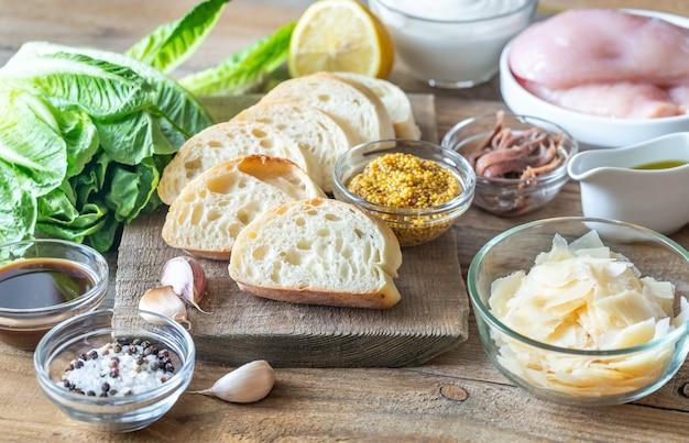 Ingrédients pour salade césar