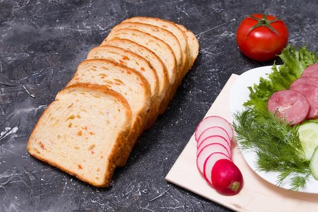 Ingrédients pour un sandwich