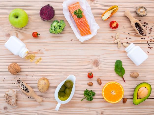 Ingrédients pour la sélection d'aliments sains.