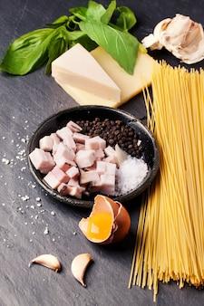 Ingrédients pour spaghetti alla carbonara