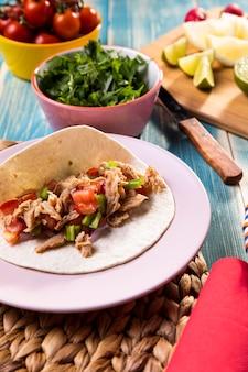 Ingrédients de taco à angle élevé