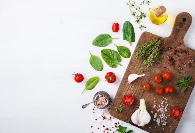Ingrédients végétariens biologiques. aliments sains, végétalien