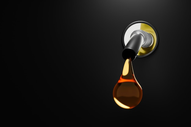 Injecteur d'essence d'or faisant le plein d'huile ou de carburant pur sur fond de réservoir diesel. rendu 3d.