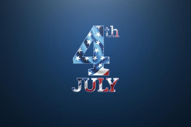 Inscription 4 juillet sur fond bleu