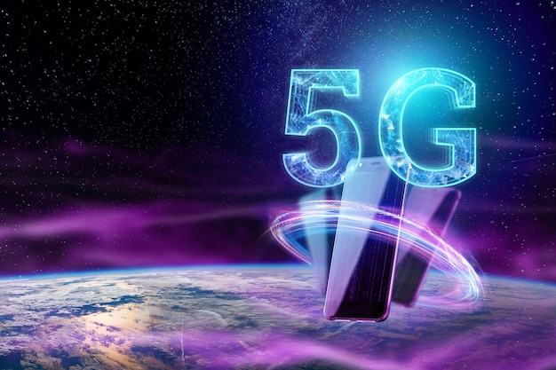 L'inscription 5g sur le fond du globe
