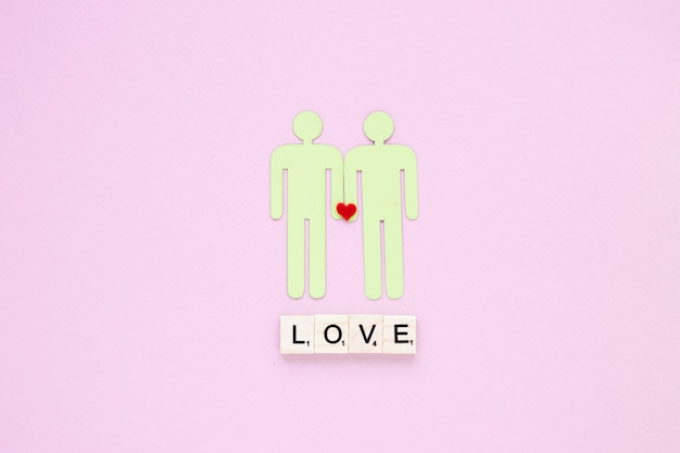 Inscription d'amour avec l'icône du couple gay