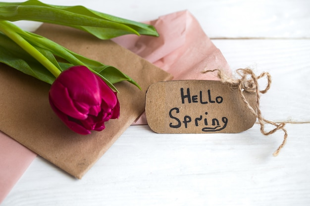 Inscription bonjour, printemps