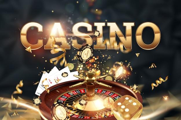 Inscription casino, roulette, dés de jeu, cartes, jetons de casino sur fond vert.