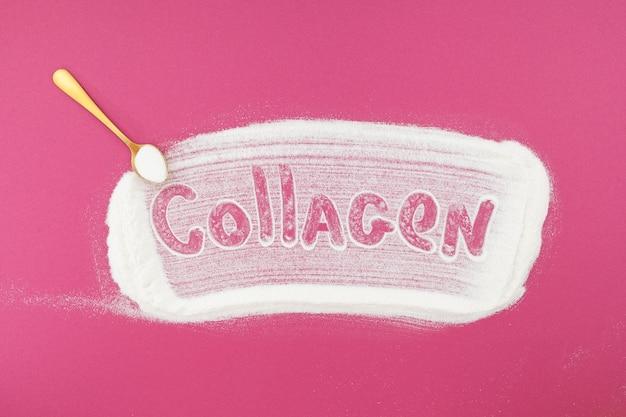 Inscription collagène et poudre de collagène sur fond rose apport de protéines supplémentaires