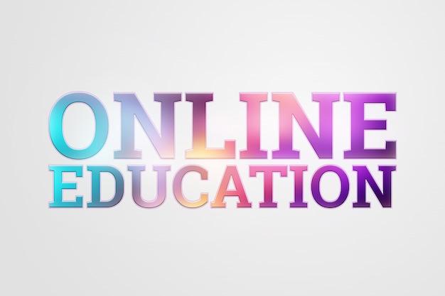 Inscription colorée éducation en ligne sur la lumière
