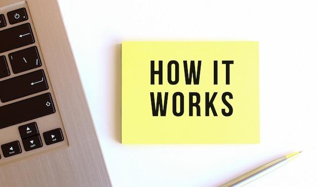 L'inscription comment cela fonctionne sur les notes autocollantes jaunes sur le bureau blanc