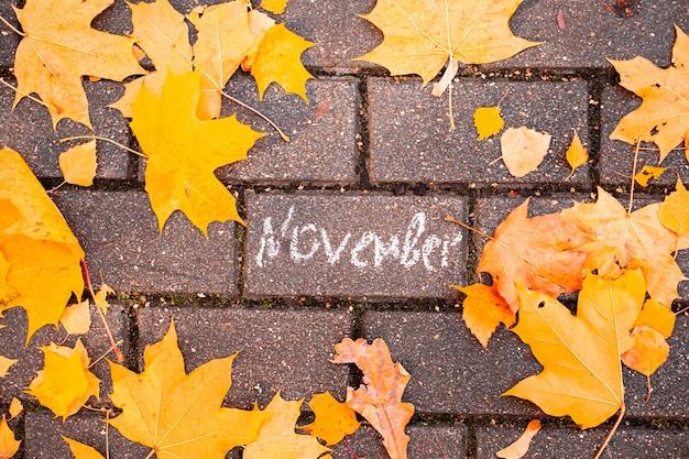 Inscription à la craie novembre sur tuile d'asphalte parmi les feuilles d'automneconcept automne tombant