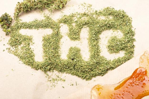 Inscription du mot thc avec des bourgeons de cannabis broyés verts et de la cire dorée à haute teneur en thc.