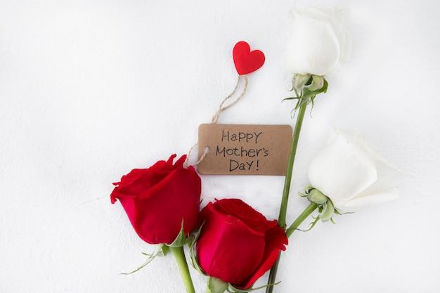 Inscription heureuse fête des mères avec des roses