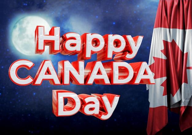 Inscription joyeuse fête du canada dans le ciel nocturne. journée festive célébrée le 1er juillet.