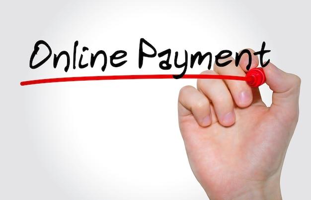 Inscription à la main paiement en ligne avec marqueur, concept