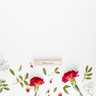 Inscription de mars avec des fleurs d'oeillets
