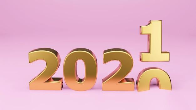 Inscription or 2021 isolée sur fond blanc. bonne année 2021. illustration pour la publicité. rendu 3d.