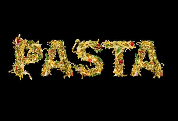 Inscription pâtes par macaroni aux tomates cerises poivron rouge oignon basilic vert et roquette aga...
