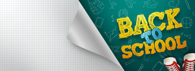 Inscription retour à l'école, éléments d'éducation. flyer, affiche à vendre
