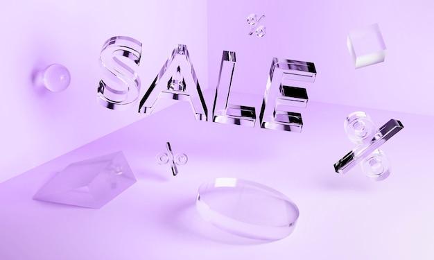 Inscription de vente au néon en verre transparent 3d et formes géométriques dans l'angle. concept