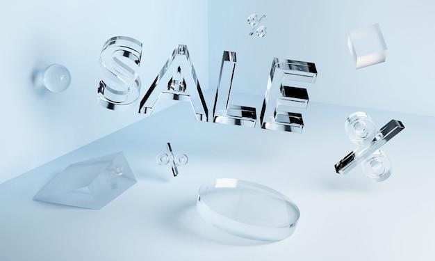 Inscription de vente au néon en verre transparent 3d et formes géométriques dans l'angle