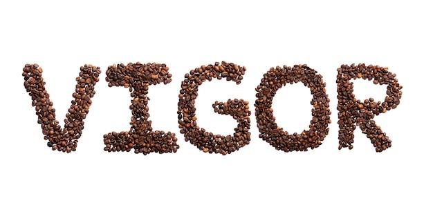 Inscription vigueur de l'alphabet anglais des fèves de cacao torréfiées