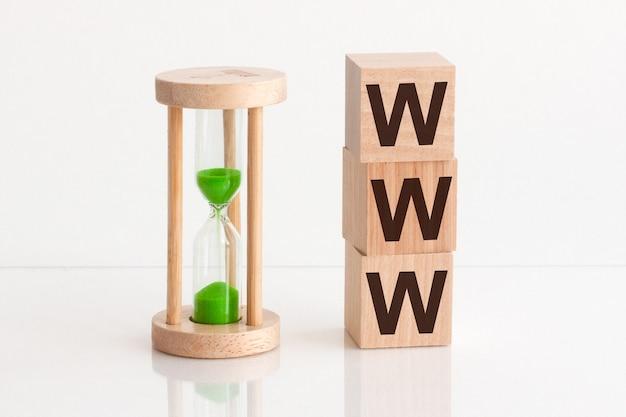 Inscription www sur bloc de bois isolé sur blanc concept de communication en ligne