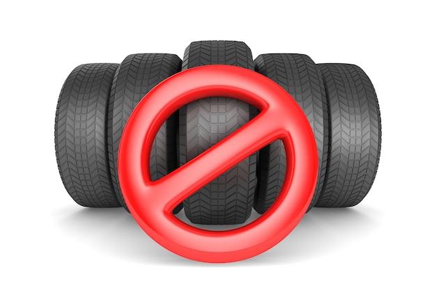Inscrivez-vous interdit et pneu sur l'espace blanc. illustration 3d isolée