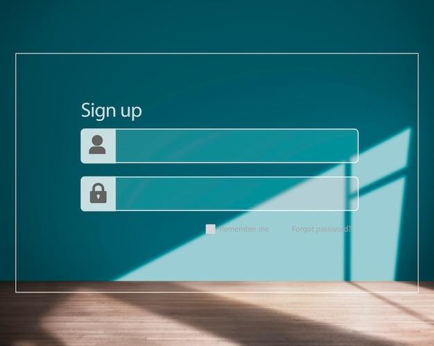 Inscrivez-vous mot de passe d'inscription concept de sécurité