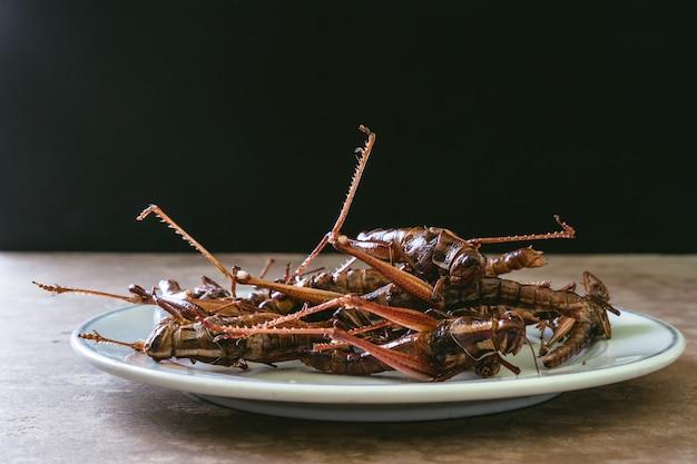 Insectes frits dans un plat sur une table en bois avec un fond noir