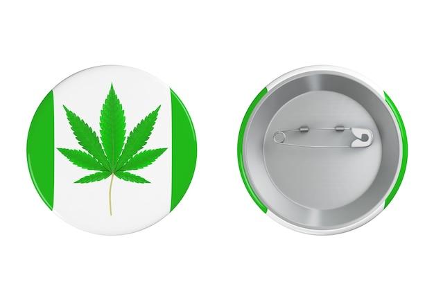 Insigne avec la marijuana médicale ou le signe de feuille de chanvre de cannabis sur un fond blanc. rendu 3d