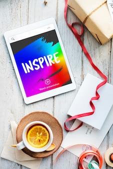 Inspirer, croire, rêver, créer, concept