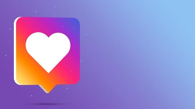 Instagram comme logo sur bulle de dialogue 3d