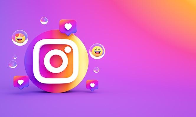 Instagram icône logo copie espace photo premium