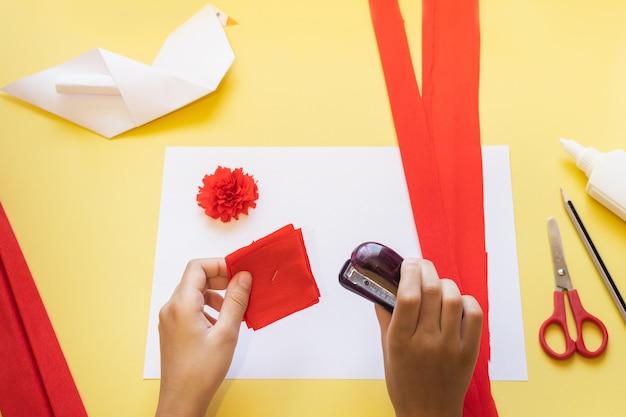 Instructions de bricolage. comment faire une carte avec des fleurs d'oeillets et une colombe en origami