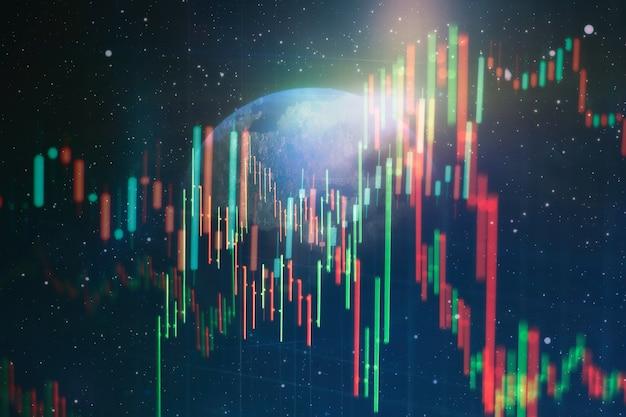 Instruments financiers avec divers types d'indicateurs, y compris l'analyse de volume pour une analyse technique professionnelle sur le moniteur d'un ordinateur. concept d'analyse fondamentale et technique.