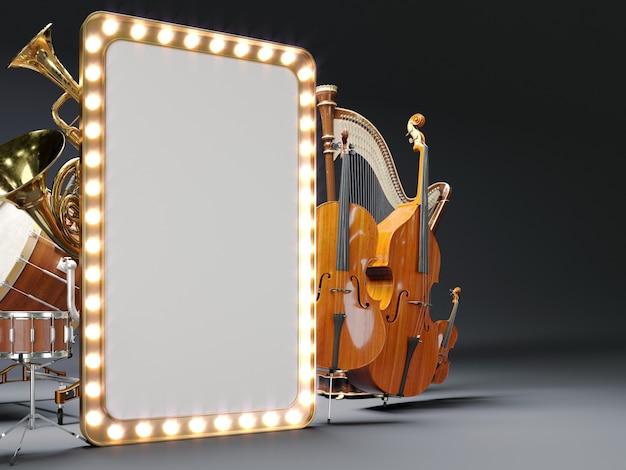 Instruments de musique d'orchestre blanc. rendu 3d de haute qualité